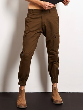 Ericdress Plain Pocket Loose Casual Locomotive Men's Pants