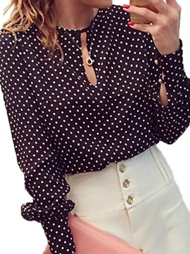 Ericdress Polka Dots Hollow Blouse