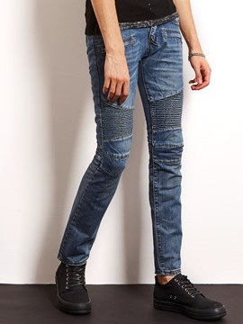 Ericdress Denim Pleated Slim Locomotive Men's Jeans