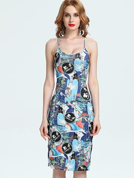 Ericdress Print Backless Hollow Bodycon Dress