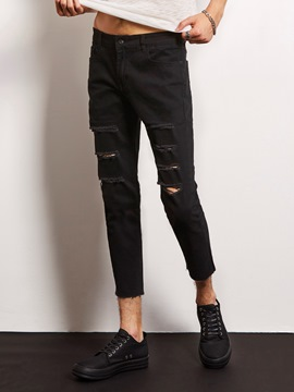 Ericdress Black Holes Casual Denim Ninth Locomotive Men's Pants