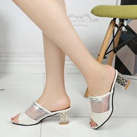Ericdress Roman Mesh Patchwork Rhinestone Mules Shoes