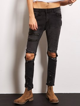 Ericdress Zip Denim Holes Casual Locomotive Men's Jeans