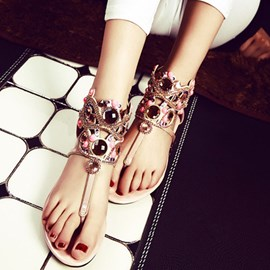 Ericdress Fashionable Rhinestone Zipper Flat Sandals