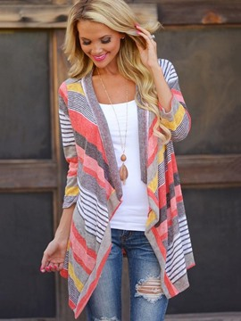 Ericdress Stripe Cardigan Asymmetric Cape