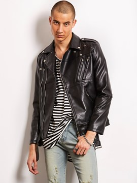 Ericdress Black PU Zip Vogue Casual Locomotive Men's Jacket