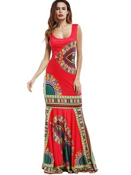 Ericdress Ethnic Print Trumpet Floor-Length Maxi Dress