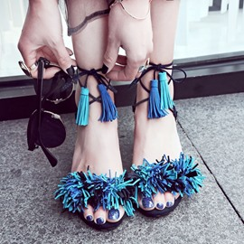 Ericdress Sweet Tassels Cross Strap Flat Sandals