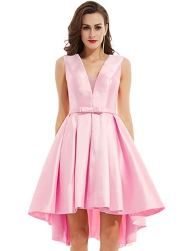 Ericdress V Neck Zipper-Up Bowknot A Line Prom Dress
