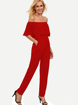Ericdress Ruffles Boat Neck Plain Jumpsuits Pants