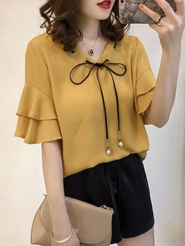 Ericdress Loose V-Neck Ruffle Sleeve Blouse