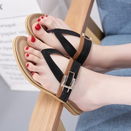 Ericdress Summer PU Clip Toe Slippers