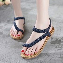 Ericdress Lovely Rhinestone Tassels Flat Sandals