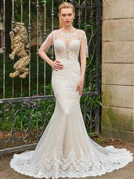 Ericdress Lace Mermaid Backless Half Sleeves Wedding Dress