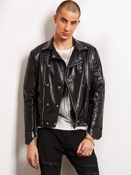 Ericdress Black PU Zip Short Slim Stylish Locomotive Men's Jacket
