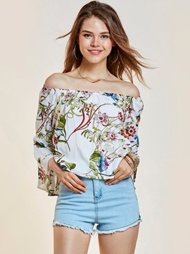 Ericdress Slash Neck Floral Print Backless Women's T-shirt