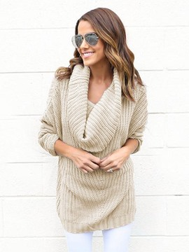 Ericdress Heap Collar Plain Loose Knitwear
