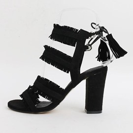 EricdressSuede Lace-Up Plain Chunky Sandals