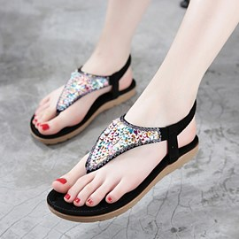 Ericdress Sweet Sequins Elastic Band Flat Sandals
