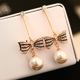 Ericdress Bowtie Dimante Allergy-Free Pearl Earring