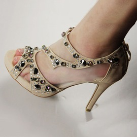 Ericdress Peep Toe Rhinestone Plain Stiletto Sandals