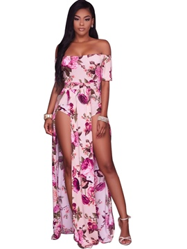 Ericdress Off-Shoulder Floral Jumpsuits Pants