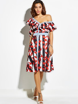 Ericdress Color Block Stripe Plant Print A-Line Dress