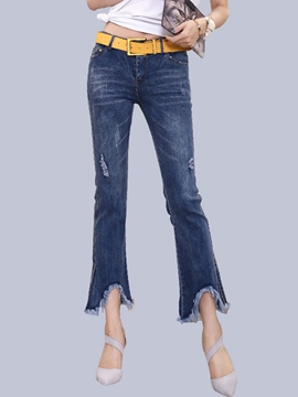 Ericdress Mid-Waist Bellbottoms Jeans