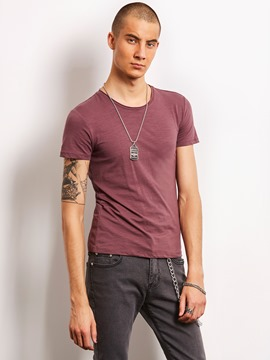 Ericdress Plain Short Sleeve Quality Locomotive Men's T-Shirt