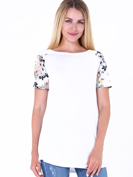 Ericdress Mid-Length Floral Print T-shirt