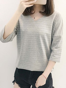 Ericdress Stripe V-Neck Korean Style T-shirt