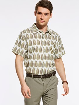 Ericdress Short Sleeve Leaf Print Loose Vogue Men's Shirt