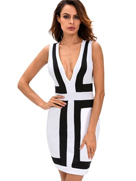 Ericdress Plunging V-Neck Color Block Sleeveless Bodycon Dress