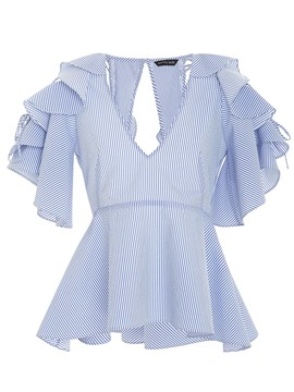 Ericdress V-Neck Hollow Ruffle Sleeve Blouse
