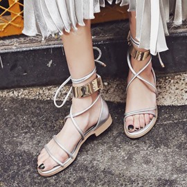 Ericdress Preppy Style Metal Decorated Flat Sandals