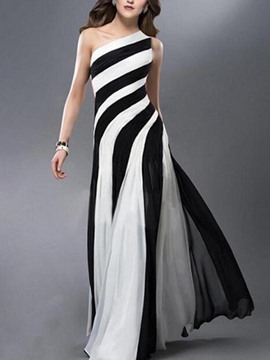 Ericdress Vertical Striped Oblique Collar Expansion Maxi Dress