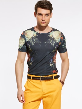 Ericdress Floral Vogue Short Sleeve Men's T-Shirt