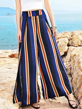 Ericdress High-Waist Stripe Wide Legs Pants