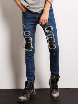 Ericdress Holes Worn Slim Denim Locomotive Men's Jeans