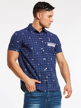 Ericdress Plaid Short Sleeve Quality Print Plus Size Men's Shirt