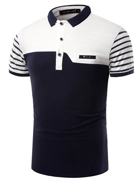 Ericdress Color Block Stripe Short Sleeve Men's T-Shirt