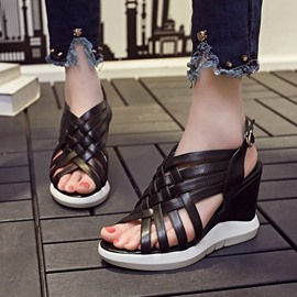 Ericdress Roman PU Cut Out Wedge Sandals