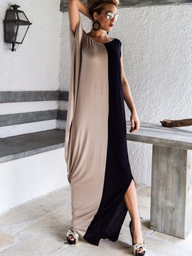 Ericdress Color Block Round NeckShort Sleeve Maxi Dress
