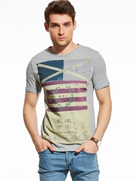 Ericdress Casual Vintage Print Short Sleeve Men's T-Shirt