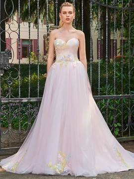 Ericdress Sweetheart Appliques A Line Color Wedding Dress