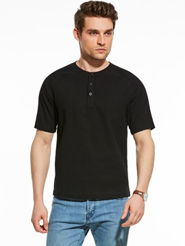 Ericdress Button Plain Short Sleeve Simple Casual Men's T-Shirt