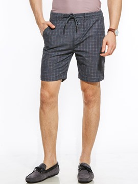 Ericdress Plaid Lace-Up Vogue Casual Men's Shorts