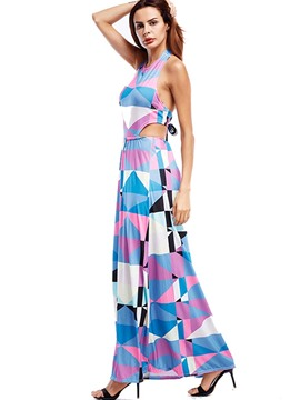 Ericdress Geometric Colored Halter Backless Maxi Dress