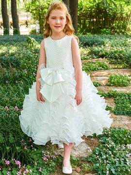 Ericdress Scoop Ball Gown Bowknot Tea Length Flower Girl Dress