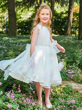 Ericdress Scoop A Line Bowknot Knee Length Flower Girl Dress
